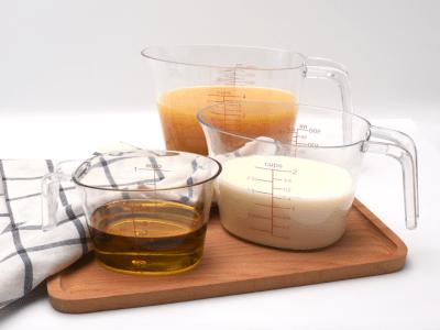Pack 3 Jarras Medidoras; Apilables, Transparentes, Resistentes al Calor con Agarre en Ángulo, Alta C