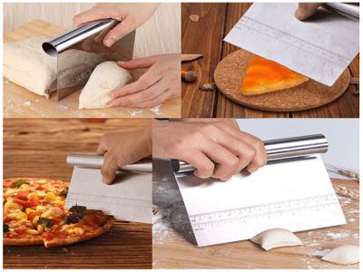 Pastel de Acero Inoxidable, Pizza, Pastelería, Raspador de Masa con Escala de Medición, Alta Calidad