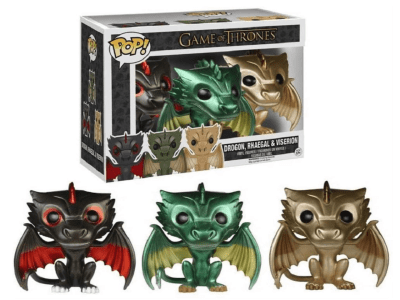 POP, Figura de Vinilo Coleccionable, Game of Thrones, Drogon, Rhaegal & Viserion (Big) (Light)