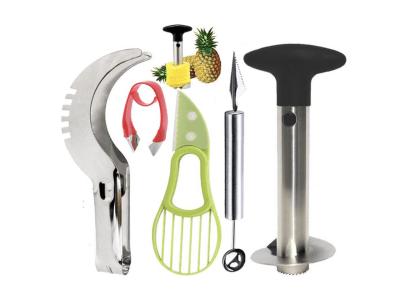 Juego de herramientas para frutas de 5 piezas: descorazonador de piña, pala de melón, cortador de cu