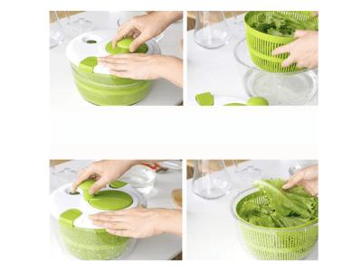 Escurridor de ensaladas manual de gran capacidad de 5 l, secador de frutas y verduras, cesta y tapa