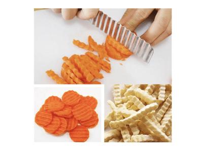 Cortadora ondulada de acero inoxidable con mango de madera, cuchillo para guarnición de frutas y verduras