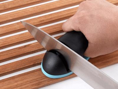 Afilador de cuchillos de 2 etapas, afilador de cocina de diamante con mango y almohadilla antideslizante