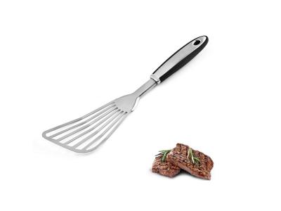 Espátula de cocina ranurada de acero inoxidable, volteador de pescado o carne para girar y voltear f