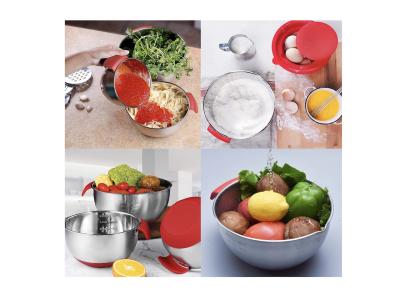 Tazón para mezclar, ensalada, huevo y salsa de acero inoxidable apto para alimentos con base antides