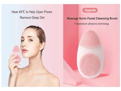 Masajeador caliente de belleza para la cara de silicona, cepillo de limpieza facial eléctrico ultrasónico