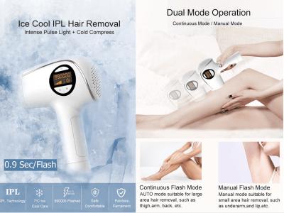 Depilación láser, Depilación IPL en el hogar con sensación de hielo para mujeres y hombres, Dispositivo de depilación permanente sin dolor