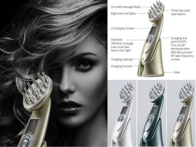 Masajeador de cuero cabelludo eléctrico LED para el crecimiento del cabello, dispositivo de nutrición profunda con vibración de rotación de 360 ° para reducir la pérdida de cabello