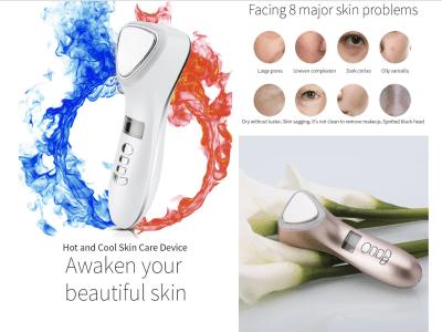 Masajeador facial de vibración eléctrica 5 en 1, masajeador facial frío y caliente, máquina de cuidado de la piel sónica recargable portátil