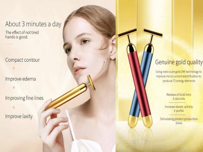 24k oro Masajeador facial, Herramienta eléctrica de masaje facial en forma de T, Lifting facial instantáneo, Antiarrugas, Estiramiento de la piel, Reafirmante facial