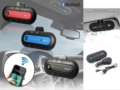 Transmisor manos libres inalámbrico para automóvil, Kit automático para automóvil. Altavoz Bluetooth con cargador para automóvil. Clip de visera solar