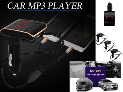Auto Radio Reproductor de MP3. Adaptador de música. Cargador de coche USB. Manos libres Bluetooth. Kit de coche Transmisor FM con línea de carga