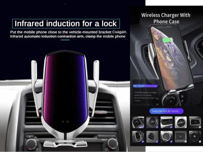 Cargador inalámbrico magnetCar de sujeción automática. R1 10w - 15w para iPhone 11 Pro XR, XS. Sensor infrarrojo Qi Huawei P30 Pro