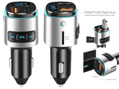 Auto Radio Reproductor de MP3. Adaptador de música. Cargador de coche USB dual. Bluetooth Manos libres. Kit de coche Transmisor FM con led