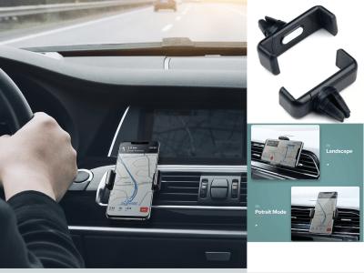 Soporte de coche para teléfono en el coche. Soporte de clip a la ventilación de aire. Sin soporte magnético para teléfono móvil. Soporte de 360 grados para iPhone 11 X 7 y compatible con todos los mod