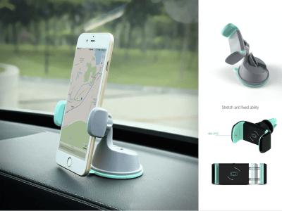 Soporte Universal 2 en 1 de coche para teléfonos móviles con montaje en la ventilación del aire y soporte para poner en el cuadro. Soporte ajustable de 360 grados para automóvil