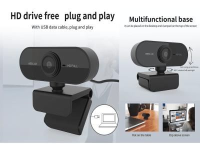 Cámara web HD 1080P USB para computadora PC. Cámara web giratoria con micrófono para transmisión en vivo. Videollamadas, Conferencias, etc