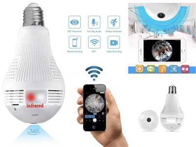 Bombilla LED + Cámara 360 grados wifi VR panorámica IP CCTV HD Mini inalámbrico 1080P. Cámara WiFi con visión nocturna