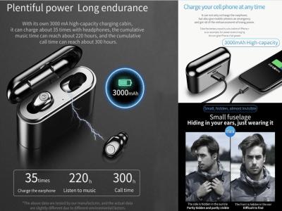 Auriculares X8 TWS, Bluetooth 5.0, Deportivos, Estéreo, Impermeable IPX6, Mini Auriculares Inalámbricos, Cancelación Ruido, Cargador Batería para Móvil, Tiempo Uso 4-8 horas, Compatible Android y IOS