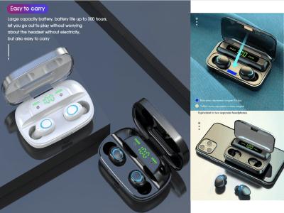 Auriculares Inalámbricos Bluetooth 5.0 F9 TWS, Pantalla LED, Control Táctil, Batería 2000mAh, Impermeable IPX6, Cancelación Ruido, Tiempo Uso 4-8 horas, Estéreo, Gaming, Compatible Android y IOS
