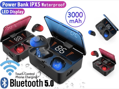 Auriculares Inalámbricos ES1, Bluetooth 5.0, Pantalla LED Inteligente, Impermeable IPX5, Cancelación Ruido, Carga tu Móvil, Tiempo Uso 4-8 horas, Compatible Android y IOS