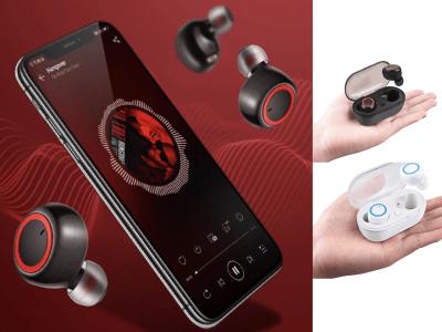 Auriculares Inalámbricos TWS, Bluetooth 5.0 + EDR, Impermeable IPX4, Cancelación Ruido, Tiempo Uso 4-8 horas, Carga tu Móvil donde quieras, Compatible Android y IOS