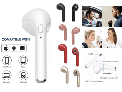 Auriculares Inalámbricos I7S TWS, Bluetooth 4.2, Impermeable IPX5, Cancelación Ruido, Tiempo Uso 2,5-3 horas, Estéreo, Compatible Android y IOS