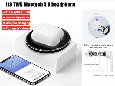 Auriculares Inalámbricos I13 TWS, Bluetooth 5.0, Impermeable IPX5, Cancelación Ruido, Carga Inalámbrica Qi, Tiempo Uso 2-3 horas, Compatible Android y IOS