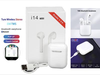 Auriculares Inalámbricos I14 TWS, Bluetooth 5.0, Impermeable IPX5, Cancelación Ruido, Tiempo Uso 2-3 horas, Deporte, Viajes, Control Táctil, Carga Inalámbrica Qi, Compatible Android y IOS