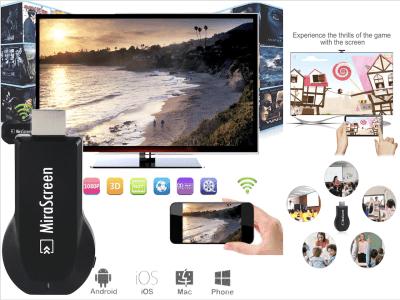 Receptor Inalámbrico Wifi para IOS y Android, TV Stick 1080P, 3D, Conecte su Móvil, Tablet, PC, MAC, etc. a su TV, Proyector o Monitor, Airplay, No más cables, La nueva forma de conectividad
