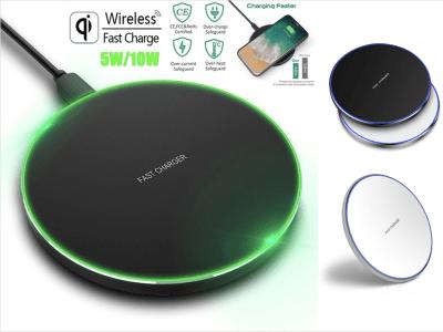 Cargador Inalámbrico de 10W Qi, Carga Rápida, Ligero, Luz LED, Compatible Android y IOS, Sistema seguridad anti calentamiento, sobrecarga, Cargue su móvil, Tablet, Reloj, etc. De forma segura