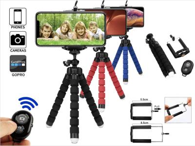 Mini Trípode Flexible Apto para Móviles, Cámaras, GoPro, Patas forradas de esponja, Mando a Distancia (10 metros), Compatible IOS y Android. Posibilidad utilizarlo varias formas, Patas Antideslizante