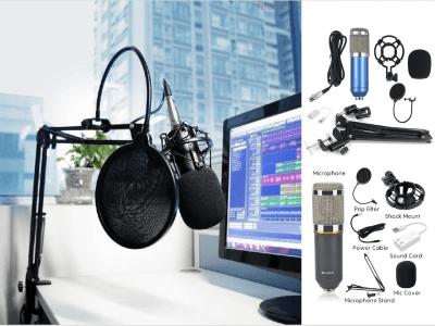 Kit Micrófono Profesional BM800 Condensador, Filtro de Voz, Tarjeta Sonido, Cubierta de Micro, Soporte, todo incluido, Convierta sus grabaciones como en un estudio profesional, 6 colores disponibles
