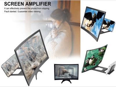 """Soporte de Video HD Plegable de Escritorio de 12"""", Amplificador de Lupa de Pantalla de Teléfono Móvil, Pantalla Curva Ampliada 3D, Disfrute de sus videos en pantalla curva de alta calidad"""