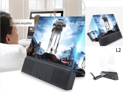 """Soporte Amplificador Teléfono Móvil con Lupa de Pantalla 12"""" 3D HD. Soporte de Escritorio con Altavoces Bluetooth. Convierte tu móvil en un dispositivo Home Cinema con Sonido Subwoofer"""