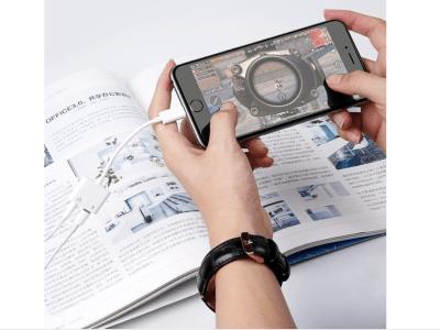 Divisor de Conversión 2 en 1, Adaptador de Conector Auriculares de Audio dual de 3,5mm y de Cargador Batería para iPhone, Nunca te quedaras sin batería mientras juegas disfrutando de tus auriculares