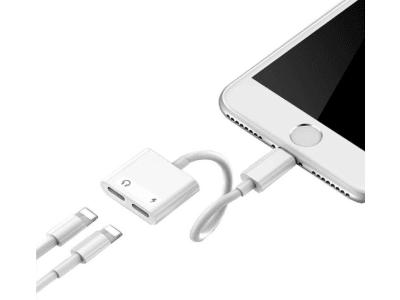 Divisor de Conversión 2 en 1, Adaptador de Conector Auriculares de Audio dual Jack y de Cargador Batería para iPhone, Nunca te quedaras sin batería mientras juegas disfrutando de tus auriculares