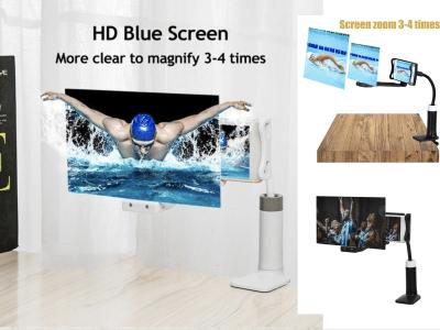 "Soporte Amplificador HD, Lupa de Pantalla de Teléfono Móvil, Proyección 3D de 12"" para Teléfono Móvil, Clip Sujeción, Flexible para encontrar la mejor posición, Regulable, Alta Definición"