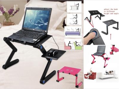 Escritorio Plegable Ordenador Portátil, 2 Ventiladores y Base para el Ratón, Regulable 360º, Ideal  para el Sofá, Cama, Coche, Avión, Fabricado en Aluminio, Facilita Postura Cómoda de Trabajo