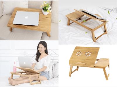 Escritorio Madera Bambú Plegable Ordenador Portátil, 2 Ventiladores, Base para el Ratón, Ideal para el Sofá, Cama, Facilita Postura Cómoda de Trabajo, Elegante Diseño