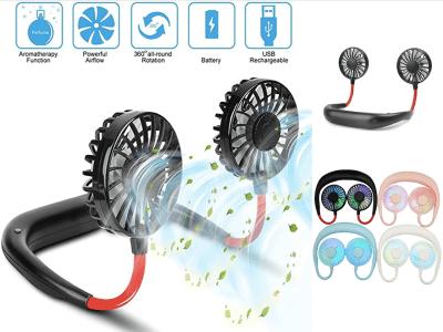 Mini Ventiladores de Banda para el Cuello, USB Recargables, Portátiles, Acondicionador Aire Fresco puede usarlo directo en su cuello, en escritorio, 3 Velocidades, 360º, Aromaterapia, Flexible