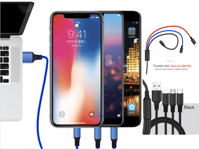 Cable Carga y Datos USB 3 en 1, 1,2m, 3,5A, Trenzado de Nylon Micro USB, Tipo C, 8pin, compatible con Android y IOS, Tricolor, diference cada cable, Cargue 3 dispositivos diferentes mismo momento