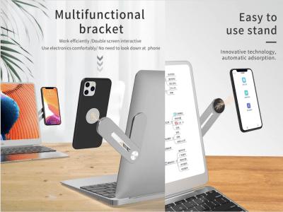 Soporte Universal Extensión para Teléfono Móvil para Ordenador Portátil, Sobremesa, Soporte de Aleación de Aluminio, Tenga su Móvil Visible para Trabajar con Manos Libres, Diferentes Ángulos