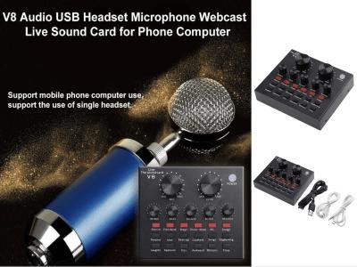 Tarjeta de sonido V8, USB 5.0, 112 Sonidos Electrónicos, 18 Efectos de Sonido y  6 Modos Efectos para Computadora, Teléfono, Disfrute de un producto profesional, Compatible Windows, Android y IOS