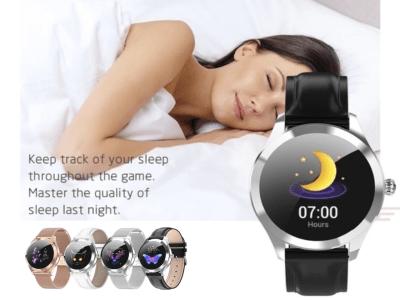 Reloj Inteligente para Mujer a Prueba de Agua IP68, Comptaible IOS y Android, Cuerpo de Acero Inoxidable, Reloj Inteligente KW10 con Monitor de Frecuencia Cardiaca y mucho mas, Pulsera Perfecta para F