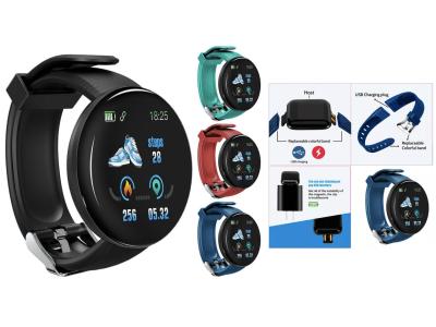 Reloj inteligente D18 para Hombres y Mujeres, Compatible IOS y Android, Smartwatch Redondo con Presión Arterial, Reloj Inteligente Deportivo, Resistente al Agua, Rastreador de Ejercicios