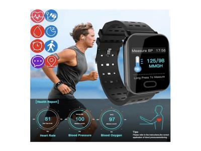 Reloj Inteligente HD con Pantalla Grande, Resistente al Agua, Rastreador de Ejercicios, Reloj Inteligente A6 con Monitor de Presión Arterial, Controla tu Sueño, Compatible IOS y Android