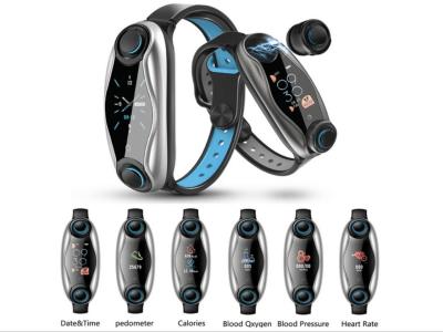 Brazalete Inteligente con Auriculares incluidos, Pantalla Táctil, Bluetooth 5.0, Monitor de Presión Arterial, Control del Sueño, Compatible Android y IOS, Resistente al Agua