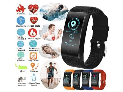Brazalete Inteligente, Control Actividad Deportiva, Impermeable IP67, Podómetro, Monitor Frecuencia Cardíaca, Presión Arterial, Compatible Android y IOS, Bluetooth, Pantalla OLED