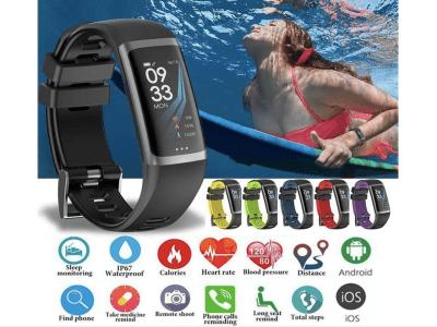 Brazalete Inteligente, Resistente al Agua IP67, Monitor Presión Arterial, Ritmo Cardiaco, Control Actividad Deportiva, Compatible Android y IOS, Bluetooth, Podómetro, Pantalla OLED